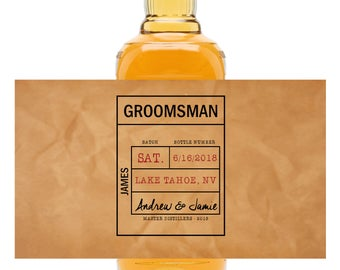 Will you be my Groomsman whiskey bottle invitation, best man invite, liquor bottle wedding invitation, wedding party, bourbon Label