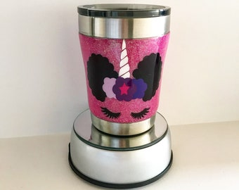 10oz double wall stainless steel unicorn glitte tumbler