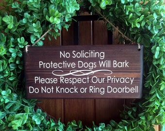 No Soliciting Sign | Protective Dog Sign | Sleeping Baby Sign | Do Not Disturb Sign | Do Not knock sign | Barking dog sign | privacy sign