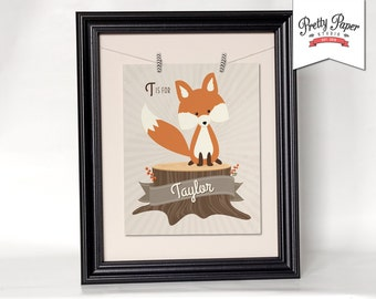 Personalized Woodland Nursery Wall Art // Gender Neutral, Baby Girl, Baby Boy // Printable Fox Decor / Custom Digital Artwork BS01 BS02 BS03