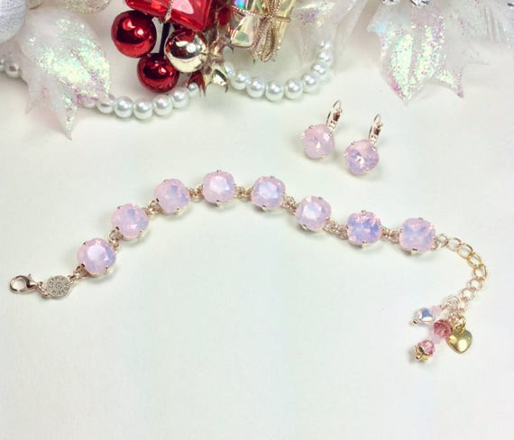 Swarovski Crystal 12MM Cushion Cut Deco Style Bracelet  - Designer Inspired - Sparkle & Shimmer  - Beautiful Rose Water Opal - FREE SHIPPING