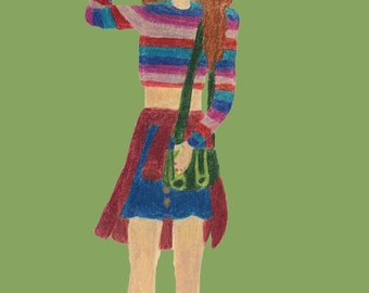 Harry Potter Hermione Granger 90s inspired fashion colored pencil drawing fan art