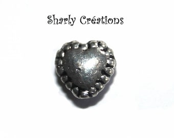 Set of 20 beads silver-plated outdated heart 5x5mm
