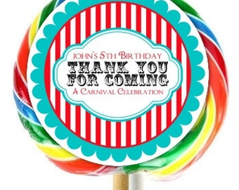 Carnival Birthday Party, Lollipop Stickers, Circus Birthday Decoration Stickers, Extra Large Personalized Stickers, Fit on WHIRLY LOLLIPOPS