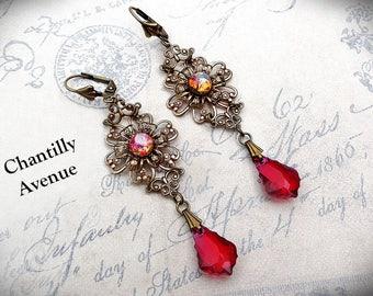 Pink Opal Victorian Earrings Vintage Style Jewelry Handmade Swarovski Crystal Ruby Art Nouveau Earrings Long Dangle Rhinestone