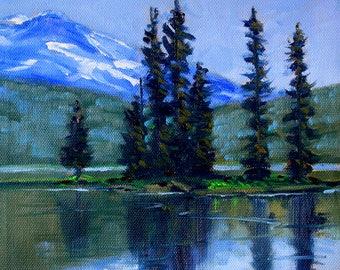 Oregon Landscape, Original, Oil Painting, Sparks Lake, Northwest, National Forest, Mountain, Lake, Trees, Blue, Evergreen, 8x8 Canvas