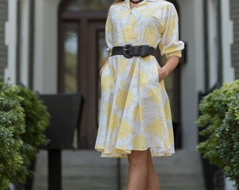 Vintage Lemon Yellow And White Floral Full Circle Dress (Size Small/Medium)