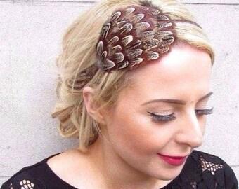 Brown Pheasant Feather Fascinator Headband Headpiece Races Wedding Vintage 4127