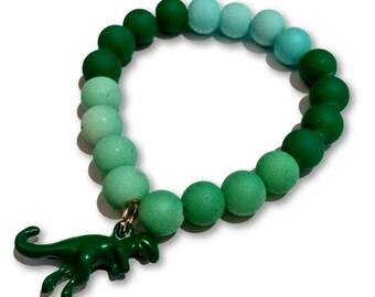 T Rex Dinosaur Green Gradient Beaded Rubber Bead Bracelet for Unisex with Charm