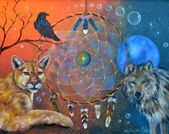 Dreamcatcher, Cougar, Crow & Wolf Art Print