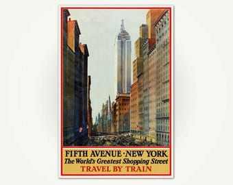 Fifth Avenue, New York City Travel Poster Print - Vintage NYC - Empire State Building Travel Poster Art - 5th Avenue New York Shopping