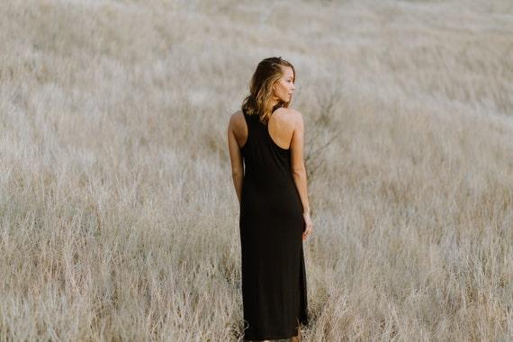 Molly Racerback Side Slit Midi Dress / Black / Heather Gray / Navy