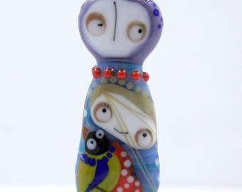 Sra lampwork glass bead focal , people , girl doll with bird bead , murano glas bead