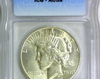 1935-S Peace Dollar ICG AU-58; Pleasing Coin!