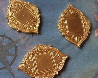 2 PC Raw Brass Victorian Back Plate / Brooch Plaque Finding - N0315