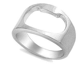 Men Women 15MM Stainless Steel High Polish Bottle Opener Ring Band(BRSR-547)
