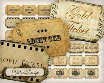 Vintage Tickets Strips instant download printable images digital collage sheet VD0674
