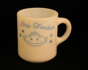 "Vintage ""I Love Grandma"" Milk Glass Coffee Mug Tea Cup White Blue Pyro Print  Collectible"