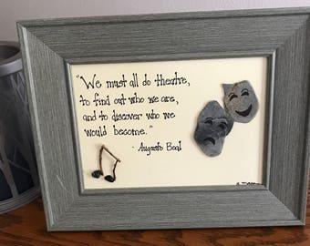 Theater pebble art, Drama rock art, Graduation gift, Music and dance, theatre lover gift