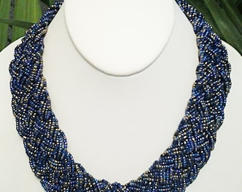 Royal Blue Braided Bib Necklace / Royal Blue Beaded Statement Necklace.