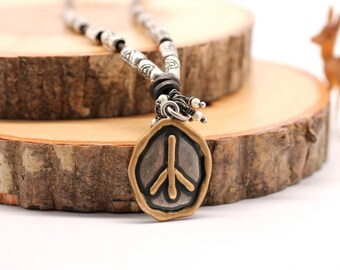 Organic Necklace , Peace Sign Necklace , Sterling Silver Necklace , Leather Necklace , Pearl Necklace , Artisan Necklace , Amy Fine Design