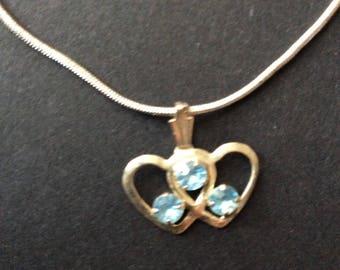 Double Heart silver tone necklace [SKU223]