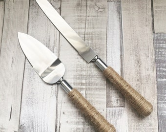 Cake Knife & Server Set, Plain Twine, Rustic Wedding Cake Knife Set, Vintage Wedding Cake Knife Set, Cake Knife and Server Set