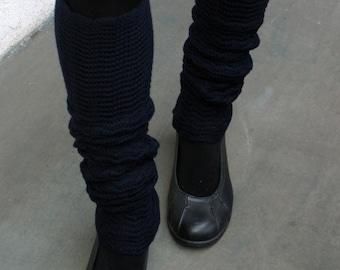 Leg Warmers Navy Blue Legwarmers Jambieres pure merino woolen spats soft wool yoga socks guetres merino stulpen