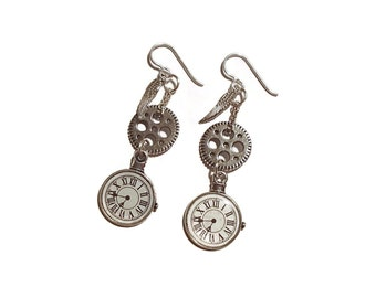 Steampunk Gear Watch Wing Earrings Steampunk Jewelry Steampunk Charm Earring E134