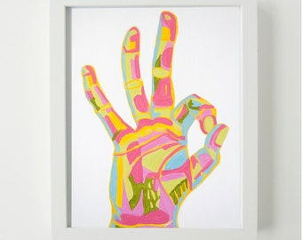 Okay Hand Sign- Art Print, Wall Art, Hand Sign Art, Hand Portrait, Colorful Art, Colorful Painting, Colorful Print, Playful Art