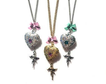 SALE! Vintage Inspired Heart Locket w/ Cupid Charm Necklace