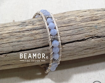 Blue Lace Agate single leather wrap
