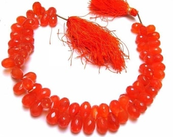 1/2 Strand - Finest Quality Carnelian Micro Faceted Drop Briolettes Size 9x6 to 11x7 mm Finest Quality, Natural Stone Wholesale Price