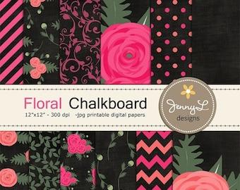 50% OFF Chalkboard Floral Ranunculus Digital Paper, Flower Blossom for Birthday, Wedding, Mother's Day, Baby Shower, Scrapbooking Paper Part