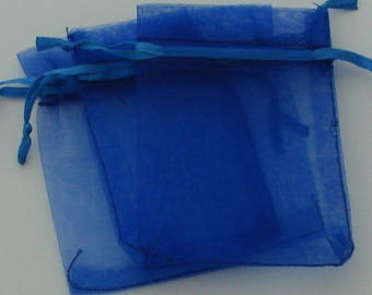 Sleeves 10 rectangular organza blue 7x9cm