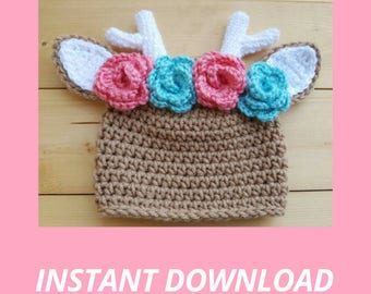 Crochet Deer Hat Pattern