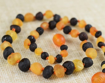 Baby Teething Necklace, Amber necklace, Amber teething necklace, Baltic amber, Raw genuine Baltic Amber, Beaded Necklace, Children necklace