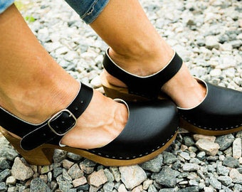 Leather clogs Black sandals Ankle Strap Sandals Wooden clogs  swedish clogs Handmade clogs sandals  Gift for women mules high heel wood clog