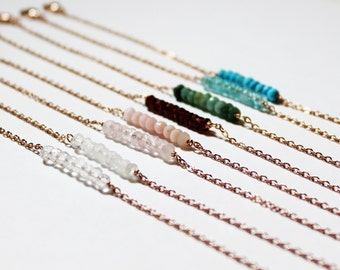 Rose Gold Beaded Bracelet - Minimalist Jewelry - Birthstone Bead Bar Bracelet - Rose Gold Jewelry