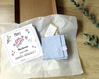Coffret Câlin - Boite cadeau câlin - Cadeau maîtresse - Mouchoir et carte - Mouchoir tissu - Carte - Merci maîtresse -Jolie boite câlin