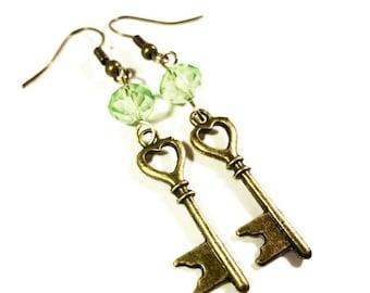 Key Charm Earrings, Heart Earrings, Peridot Green Crystal Bead Earrings, Bronze Metal Earrings, Beaded Dangle Earrings, Beadwork Jewelry