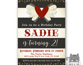 Heart theme Birthday Invitations for Girls, 2nd birthday, Valentines Birthday Party, Red White and Black, Gold Confetti, 2nd, 3rd, 4th, 171