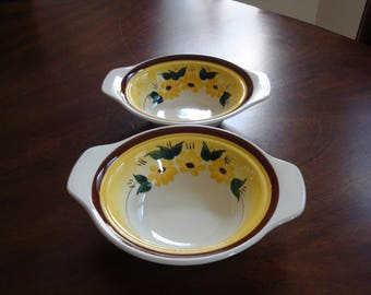Vernon Kilns BROWN EYED SUSAN (Montecido Shaped) Chowder Bowls (2)!