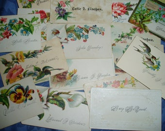 20 Antique Calling Cards with Envelope to Recipient Dated 1913