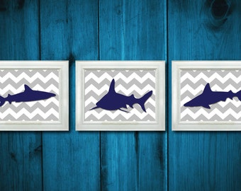 Shark Navy Grey Gray Animals Nautical Prints Set of 3 Ocean Sea Children Kids Room Nursery Art Print Wall Decor