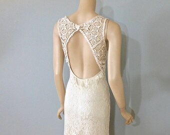 Victorian Antique LACE Wedding GOWN Open Back BoHo Wedding Dress Train M