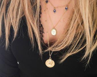 BLUE HAMSA necklace | goldkette, modeschmuck, goldplated necklace, hamsa, hamsanecklace, layering, halsband, halskette, anhänger, shadeloops