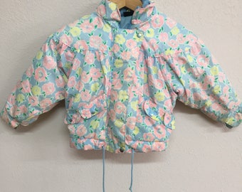 Vintage Toddler Girls Size 4T Floral Coat - Pastel Hooded Jacket - Blue Pink and Yellow AS IS