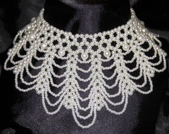 White Pearl Necklace baroque Victorian wedding
