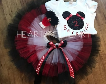 Minnie mouse birthday tutu outfit, first birthday tutu outfit, birthday outfit set, black and red minnie mouse tutu, oh twodles
